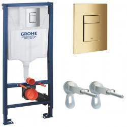 Инсталляция для унитаза подвесного Grohe Rapid Sl 38772GL1 (38772 GL1) золотая кнопка
