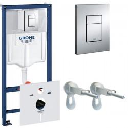 Инсталляция для унитаза подвесного Grohe Rapid Sl 38775001 (38775 001) кнопка хром глянцевый