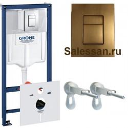Инсталляция для унитаза подвесного Grohe Rapid Sl 38775BR1 ( 38775 BR1) бронзовая кнопка