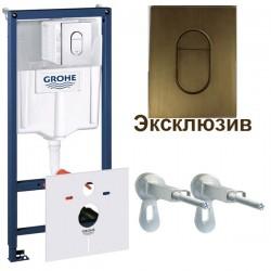 Инсталляция для унитаза подвесного Grohe Rapid Sl 38929BR0 (38929 BR0) бронзовая кнопка