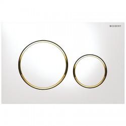 Кнопка для инсталляции для унитаза Geberit Sigma 20 115.882.KK.1 (115882KK1) белая-золото