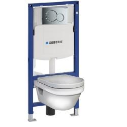 Инсталляция Geberit Duofix Sigma 12 UP320 111.300.00.5 с кнопкой Sigma 01 в комплекте с унитазом безободковым Gustavsberg Hygienic Flush 5G84HR01