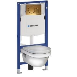 Инсталляция Geberit Duofix Sigma 12 UP320 111.300.00.5 с кнопкой Sigma 01 в комплекте с унитазом безободковым Gustavsberg Hygienic Flush 5G84HR01 м-лифт бронза