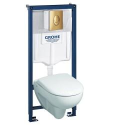 Инсталляция Grohe 38721GL1 в комплекте с унитазом безободковым Geberit Renova Nr. 1 203050000 500.801.00.1 (золотая кнопка)