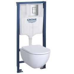 Инсталляция Grohe 38772001 в комплекте с унитазом безободковым Geberit Acanto 500.600.01.2