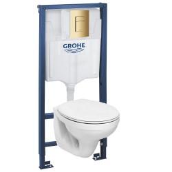Инсталляция Grohe 38772GL1 в комплекте с унитазом Geberit Idol M1310002U (золотая кнопка)