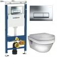 Инсталляция Geberit Delta 458.125.21.1 в комплекте с унитазом безободковым Gustavsberg Hygienic Flush 5G84HR01
