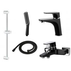 Комплект для ванной со смесителем Adiante Tefia AD-18022-18021BK черный