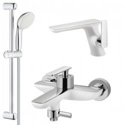 Комплект для ванной со смесителем Adiante Atria AD-28022-28021WHCR