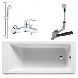 Ванна акриловая прямоугольная Roca Easy ZRU9302899 170х75 со смесителем и душем